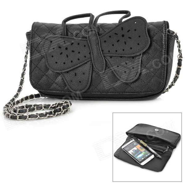 Buy Concise Butterfly Pattern PU Handbag / Shoulder Bag for Women - Black with Litecoins with Free Shipping on Gipsybee.com