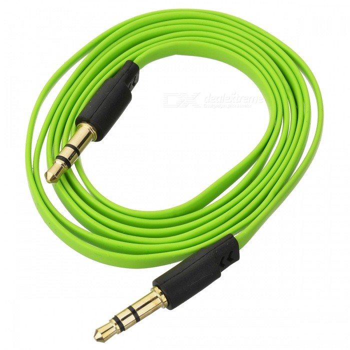 YG-35 3.5mm M-M Audio Connection Flat Cable - Green + Black (104cm)
