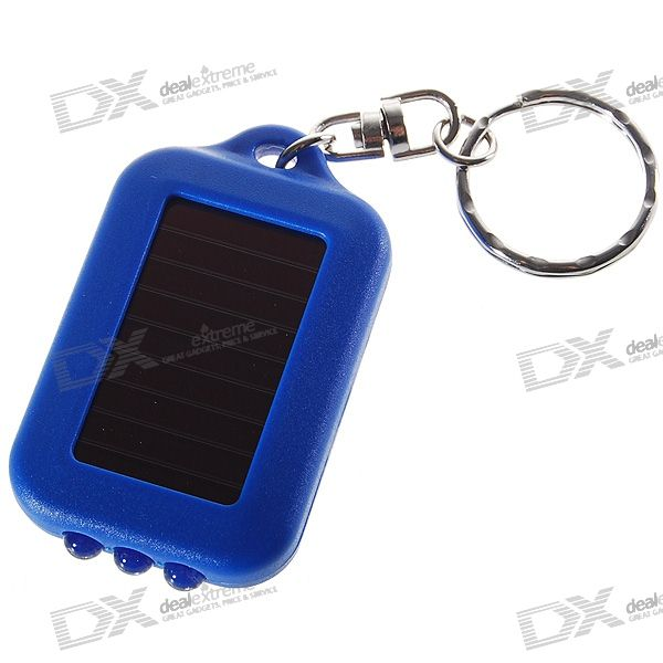 3-LED Solar Powered Self-Recharge Flashlight Keychain (Color Assorted)LED Keychains<br>Quantity1 pieceForm  ColorWhiteMaterialPlasticNumber of Emitters3Light ColorWhite lightPower SupplyN/AShade Of ColorBlueColorBluePacking List1 x Keychain<br>
