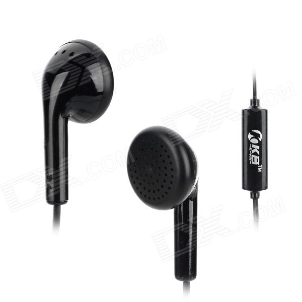Universal In-Ear Earphone w/ Microphone for Iphone + Samsung - Black (110 CM)