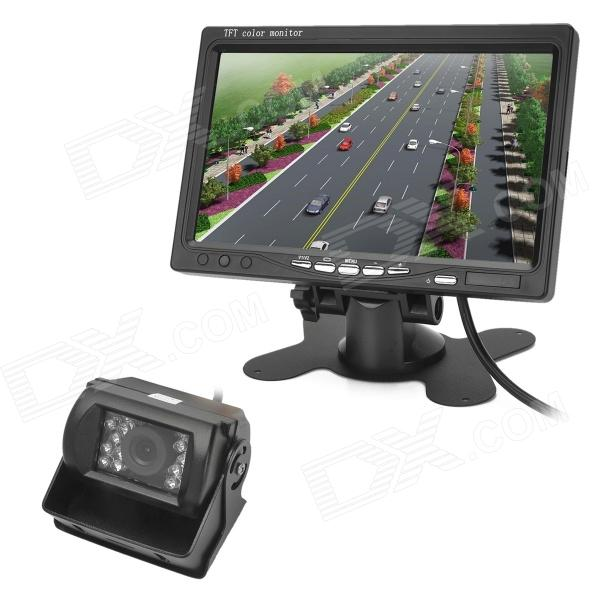 "7"" TFT CMOS Wide Angle Truck Rearview Camera Monitor w/ Night Vision - Black"
