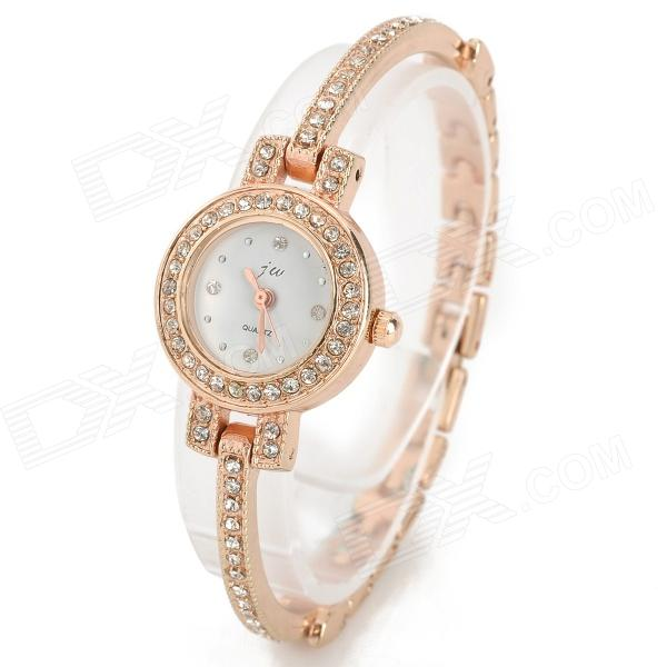 JW Crystal Round Dial Slim Band Quartz Wrist Watch for Women - Golden + White (1 x AG4)