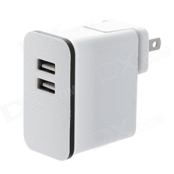 Detachable AC Charging Adapter Charger w/ Dual USB Output for Iphone / Ipad - White (US Plug)
