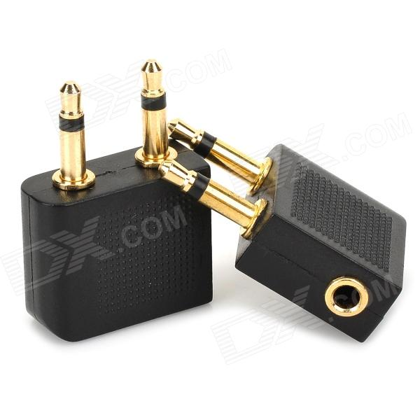 3 5mm Double Male To Female Stereo Plug Adapter Black Golden 2 Pcs