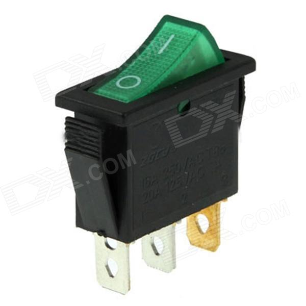 Rocker Switch 3-Pin ON / OFF - Green (15A, AC 250V / 20A, AC 125V)Switches &amp; Adapters<br>Model04030035Quantity1Form  ColorGreenMaterialABSPower Range16AMax. Current20Packing List1 x Switch<br>