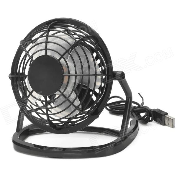 OB-O816 USB / Car Cigarette Lighter Powered 4-Blade Fan w/ Switch - Black