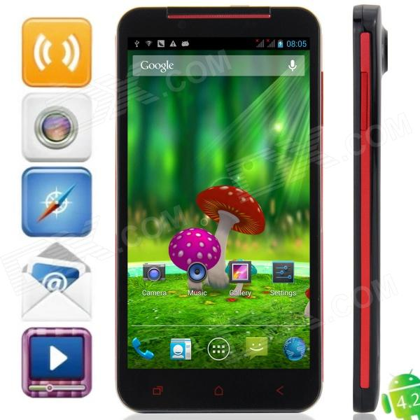 "S5 MTK6589T Quad-Core Android 4.2.1 WCDMA Bar Phone w/ 5.0""HD, 32GB ROM, 2GB RAM, GPS - Black + Red"