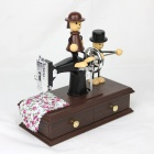 Cute Dolls Sewing Machine Style Music Box - Black + Brown