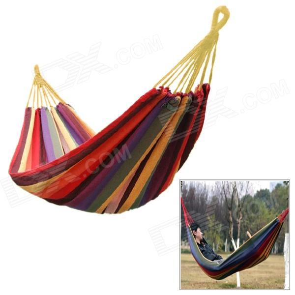 Portable Outdoor Camping Hiking Canvas Swing Hammock - Multicolored