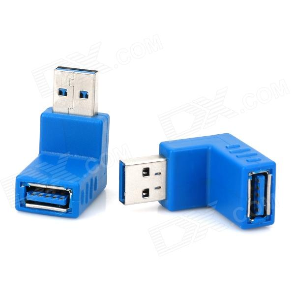USB 3.0 Male to Female 90 Degree Right Angle Adapter Set - Blue (2 PCS)AV Adapters And Converters<br>MaterialPlasticForm  ColorBlueQuantity2ConnectorUSBPower AdapterUSBPacking List2 x Adapters<br>