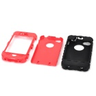 Detachable Protective Silicone + PC Case for Iphone 4 / 4S - Black + Red