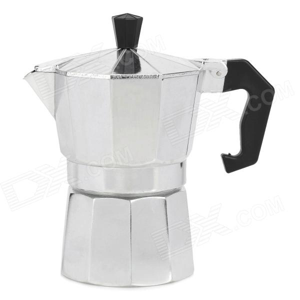Buy Small Aluminum Alloy Mocha Coffee Maker Pot w/ Black Handle - Silver with Litecoins with Free Shipping on Gipsybee.com