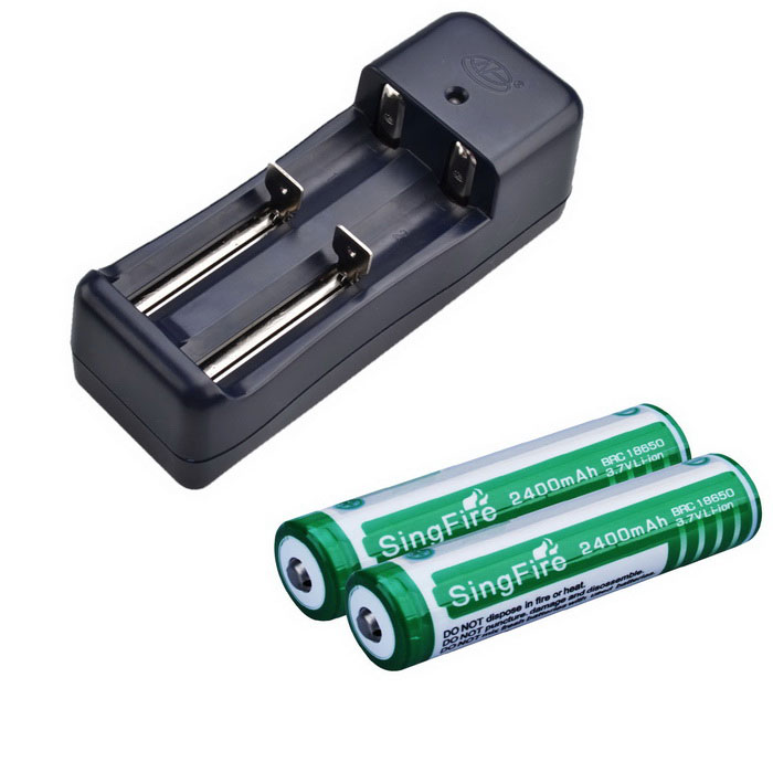 "SingFire Rechargeable ""2400mAh"" 18650 Li-ion Battery + Charger (2 PCS)"