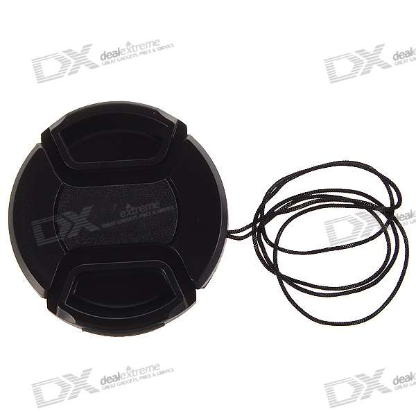 Digital Camera Lens Cover/Cap with Strap for Nikon (52mm) - Black