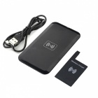 2-in-1 Qi Standard Portable Receiver + Wireless Charging Pad for Samsung Galaxy S4 i9500 - Black