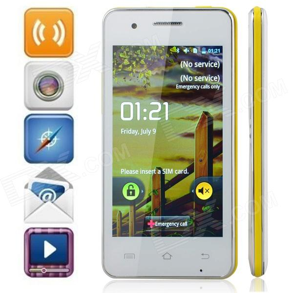 "M pei-380 (F5) Android 2.3 Bar Phone w/ 4.0"" Screen, Wi-Fi, Quad-Band and Bluetooth - White + Yellow"
