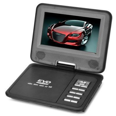 """FJD-760 Portable 7"""" LCD HD Mobile DVD w/ TV, FM, Card Reader, Game and USB - Black"""