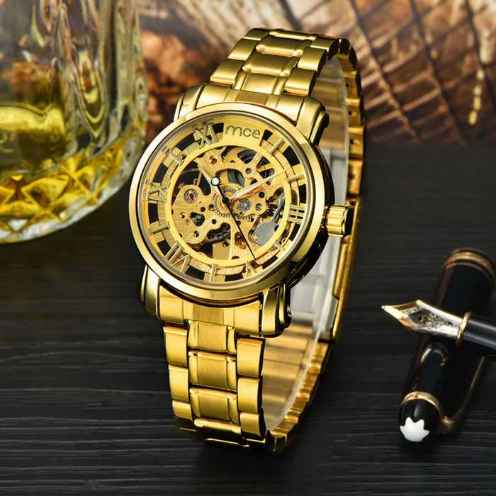 Buy MCE 01-0060049 Hollow Analog Full-Automatic Mechanical Watch - Golden with Litecoins with Free Shipping on Gipsybee.com