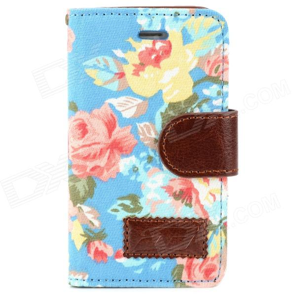 Stylish Flower Pattern Protective PU Leather Case for Iphone 4 / 4S - Multicolor