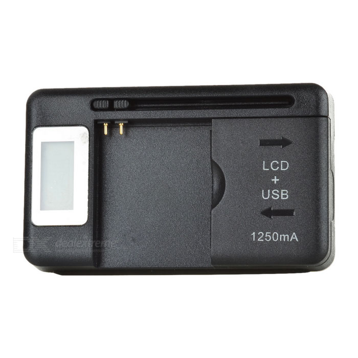 "Dx coupon: 0.7"" LCD USB US Plugs AC Power Universal Battery Charging Dock - Black"