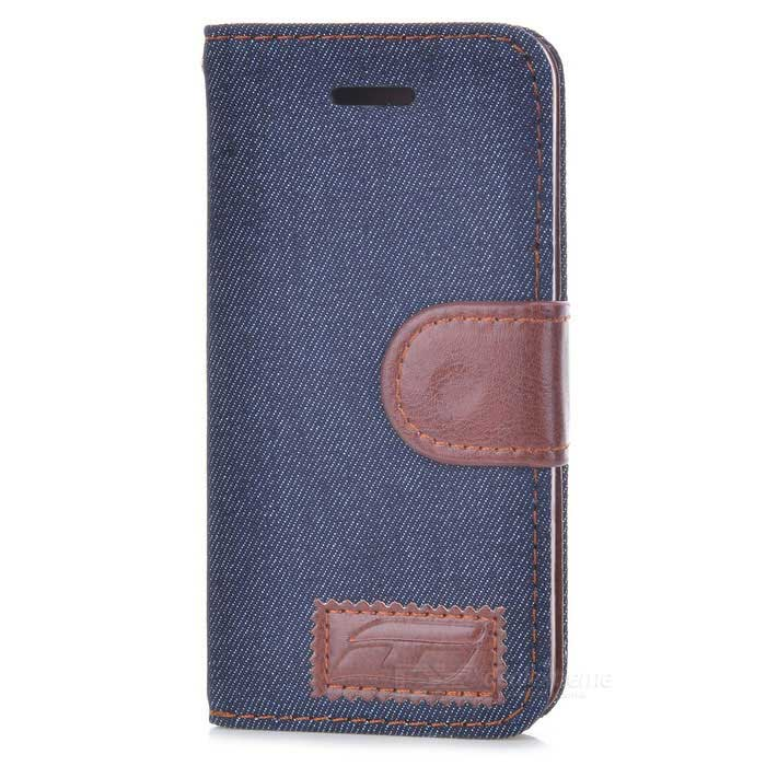 Denim Fabric Style Protective PU Leather Case for Iphone 5 - Blue + Brown