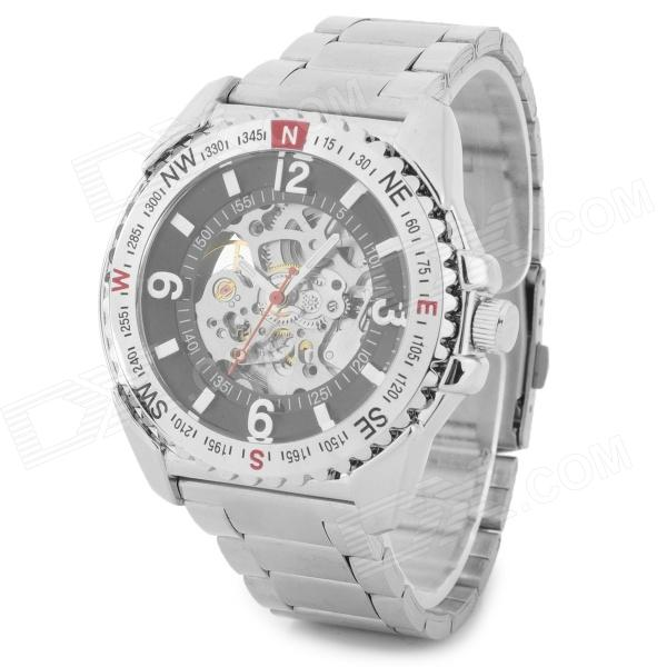 Buy Wilon Men's Stylish Skeleton Dial Analog Mechanical Wrist Watch - Silver + Black with Litecoins with Free Shipping on Gipsybee.com