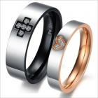 GJ298 Fashionable Titanium Steel Cross Love Couple Rings - Black + Silver + Golden (Men 9 / Women 7)