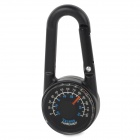 Outdoor-Multifunktions-Zink-Legierung Dual-Side Analog Compass w / Thermometer Karabiner - Schwarz