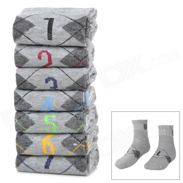 Men's Stylish Cotton Socks w/ Days of The Week Mark - Grey (7 Pairs)