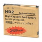 "Replacement 3.7V ""2430mAh"" Battery for HTC HD2 - Golden"