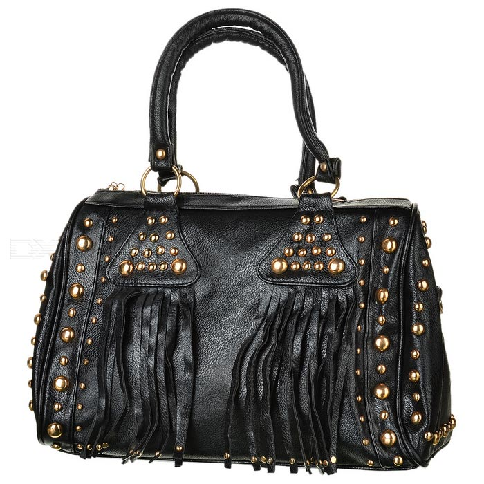 Rivet-Studded-Fashion-PU-Handbag-w-Shoulder-Strap-Black
