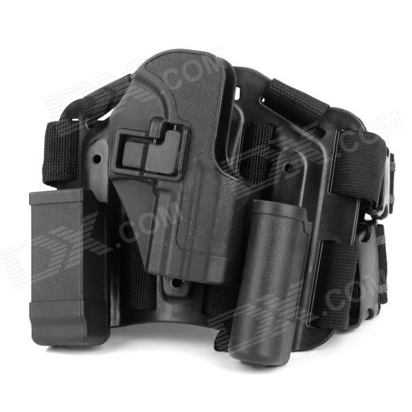 Adjustable-Quick-Release-Plastic-Tactical-Puttee-Thigh-Leg-Pistol-Holster-Pouch-for-USP45-Black