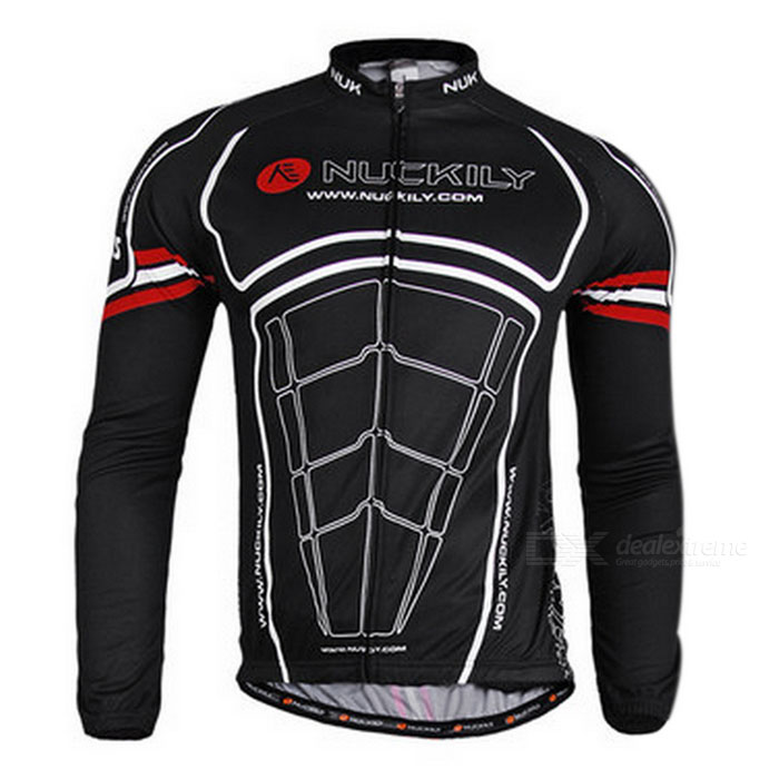 NUCKILY ZH044 Outdoor Cycling Long-Sleeve Jersey Clothes - Black (Size XL)ModelZH044Quantity1MaterialPolyesterForm  ColorBlackSizeSGenderMensShoulder Width17Chest Girth108Sleeve Length80Suitable for Height173~178Best UseCyclingSuitable forAdultsPacking List1 x Jersey<br>