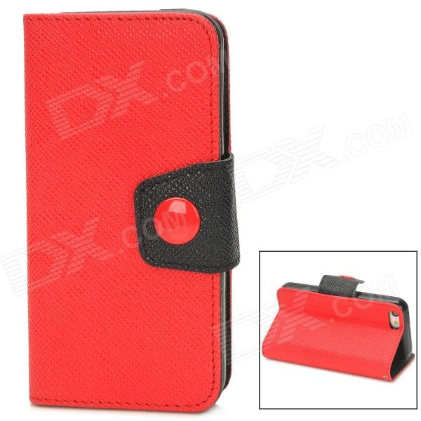 Fashion PU Leather Flip-Open Case w/ Button for Iphone 5C - Red + Black