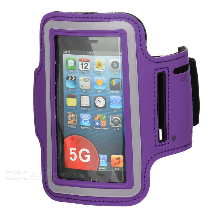 Sports Gym Neoprene + Stretch Cotton Armband Case for Iphone 5 / 5s - Purple
