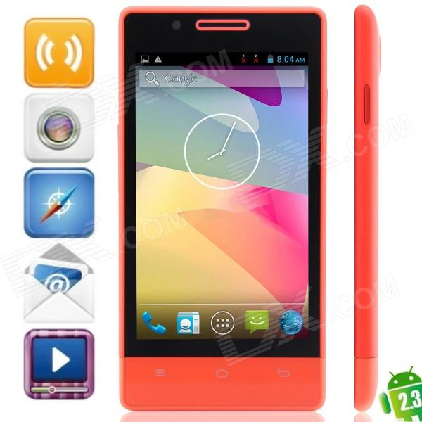 "H3039 MTK6572 Dual-core Android 2.3.6 GSM Bar Phone w/ 4.0"", Quad-Band, FM and GPS - Red"