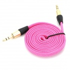 MM-35 3.5mm Male to Male Audio Connection Nylon Cable - Deep Pink + Golden + Black (1m)