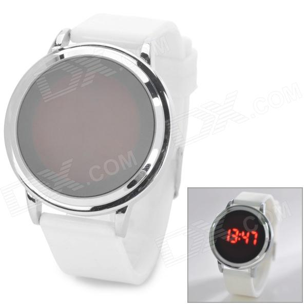 Stylish Touch Control LED Display Digital Wrist Watch w/ Silicone Band - White + Silver (1 x CR2032)