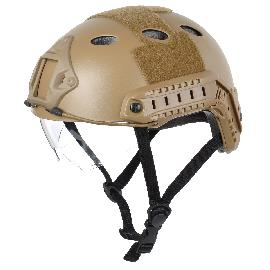 Tactical-Wargame-Motorcycling-Helmet-w-Eye-Protection-Glasses-Sand-Color-2b-Black-(Size-2bL7)