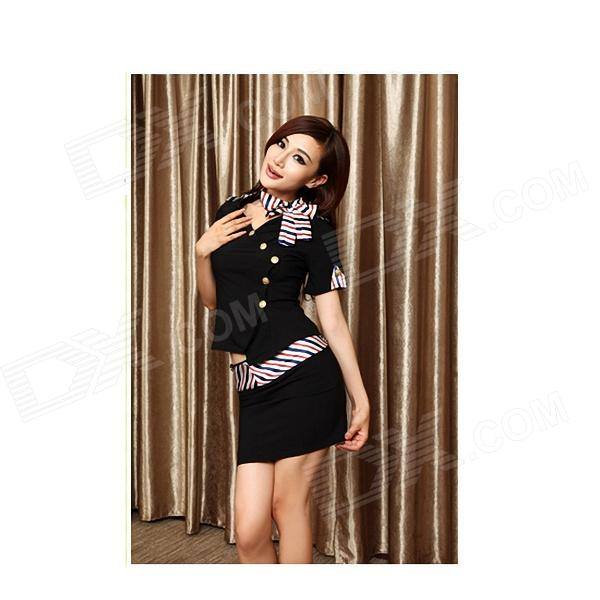 Buy Stewardess Sexy Female Police Uniforms - Black with Litecoins with Free Shipping on Gipsybee.com