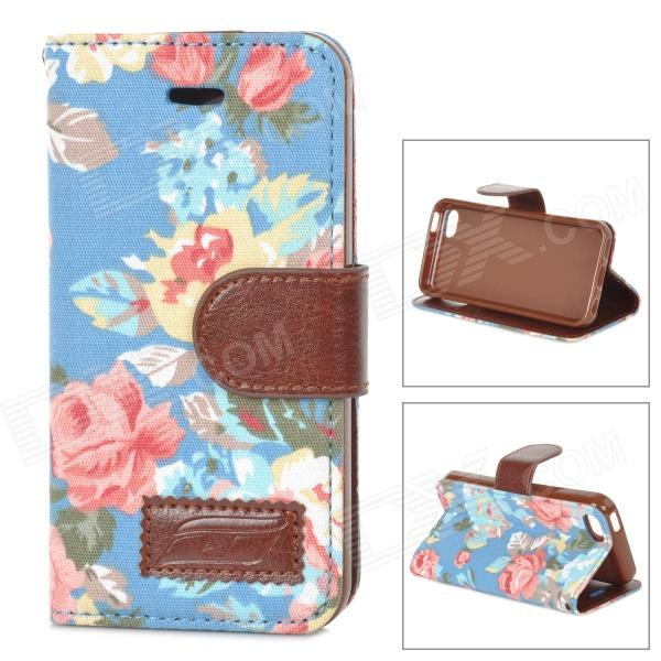 Flower Pattern Protective PU Leather Case Cover Stand w/ Card Slot for Iphone 5C - MulticoloredLeather Cases<br>ModelsiPhoneQuantity1MaterialPUForm  ColorBlueCompatible ModelsIPHONE 5C,IPHONE 5Other FeaturesProtectsPacking List1 x Protective case<br>