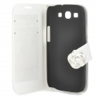 Protective PU Leather + Plastic Case w/ Holder / Card Slots for Samsung Galaxy S3 i9300 - White