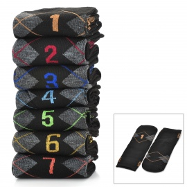 Casual-Style-Days-Of-The-Week-Pattern-Cotton-Socks-for-Men-Black