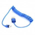 USB to Micro USB Charging Data Spring Cable w/ 2-LED RGB Light for Samsung / HTC - Blue (1.2m)