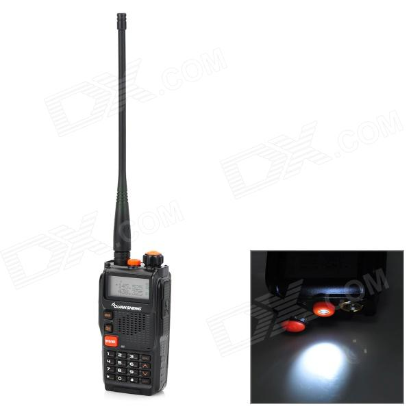 QuanSheng TG-K4AT(UV) Dual Band Interphone Walkie Talkie w/ FM Radio - BlackWalkie Talkies<br>ModelTGQuantity1Form  ColorBlackMaterialPlasticFrequency Range136~174MHzChannel128Frequency Stability+Output Power5Working Distance5000~10000EncryptionCTCSS,DCS,OthersBattery Capacity2000Standby Time168Working Time72Packing List1 x Interphone1 x Battery1 x 110~240V US plug power adapter (98cm)1 x Back clip1 x Antenna1 x Strap (21cm)1 x Chinese manual<br>