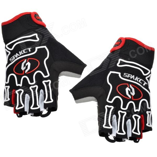 Spakct-Outdoor-Cycling-Half-Finger-Gloves-Black-2b-White-2b-Red-(Size-L-Pair)