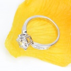 KCCHSTAR 18K Gold Plating High-Quality One Carat of Artificial Diamond Women's Ring - Silver