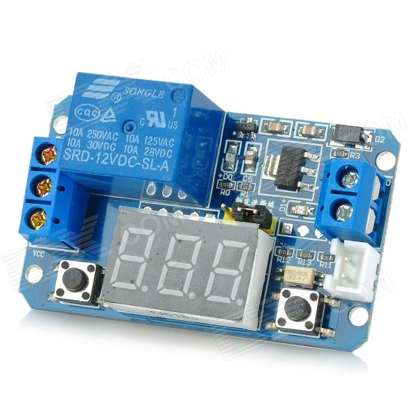LED Digital Display Circle Delay Time Relay Module - Blue (12V)