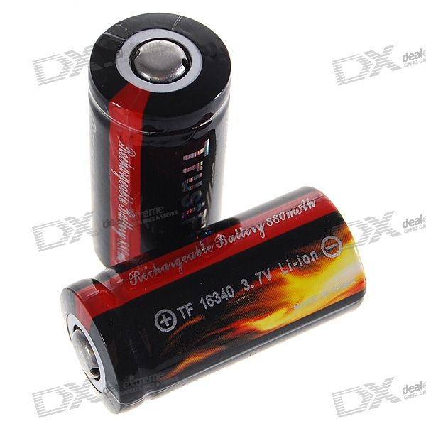 TrustFire 16340 880mAh 3.7V Rechargeable Li-Ion Batteries (2-Pack)