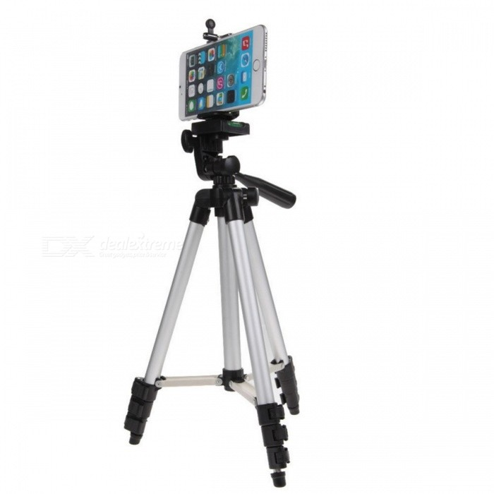 Professional Portable Cell Phone Mount Holder + Folding Tripod Set w/ Level - Black + Silver